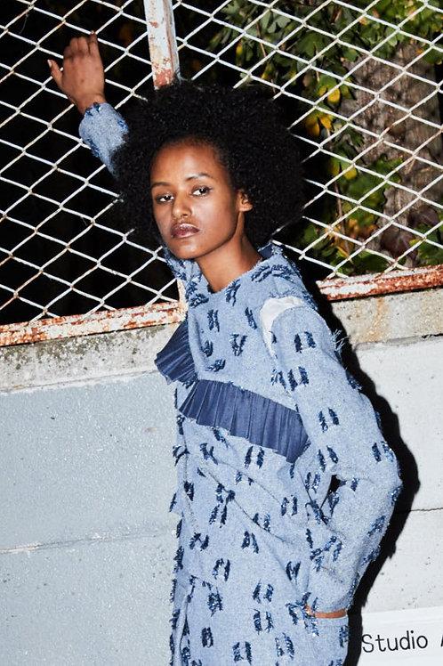 Fringe jacquard frill design pullover