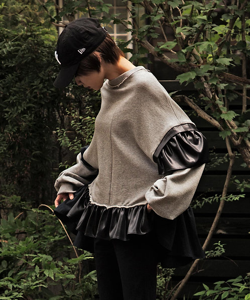 Leather like satin switching frill pullover