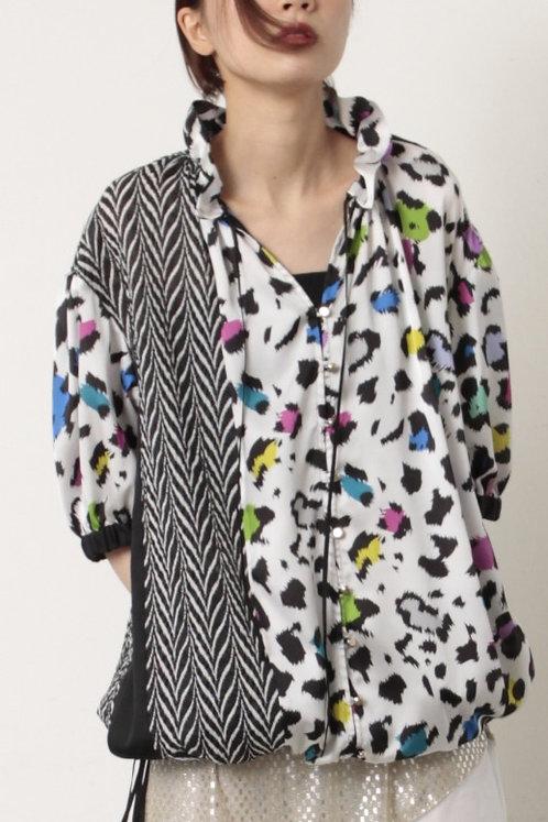 Import dot/Leopard print×Zebra blouse