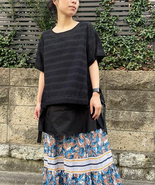 Race mix layered blouse