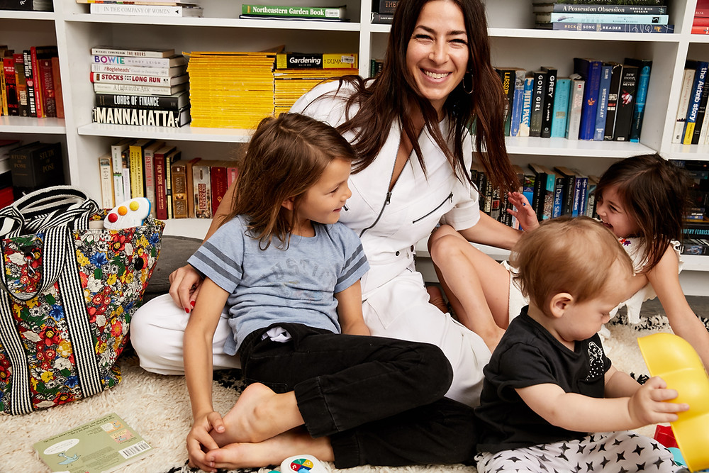 Mom and fashion brand owner Rebecca Minkoff with her children