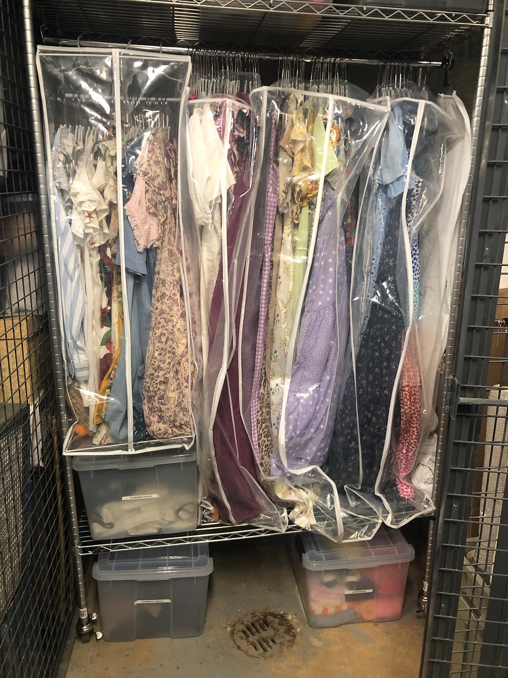a garment rack in a storage unit