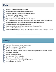 Cleaning Schedule and Checklist Sample