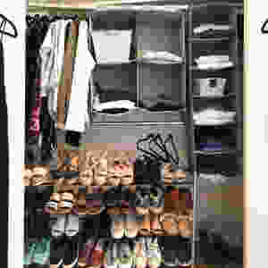 Hanging cube organizer in a closet