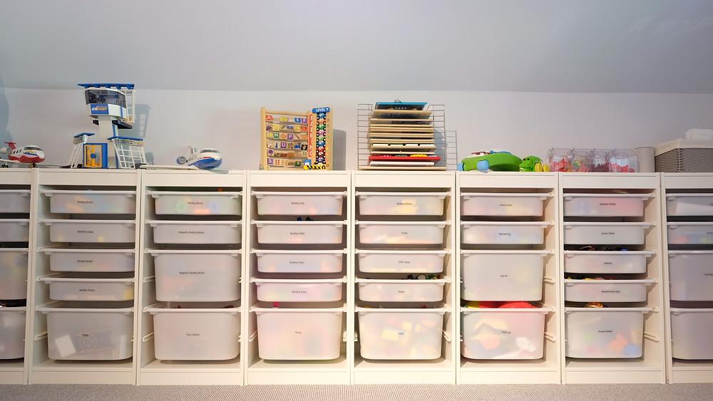Organized storage in a playroom