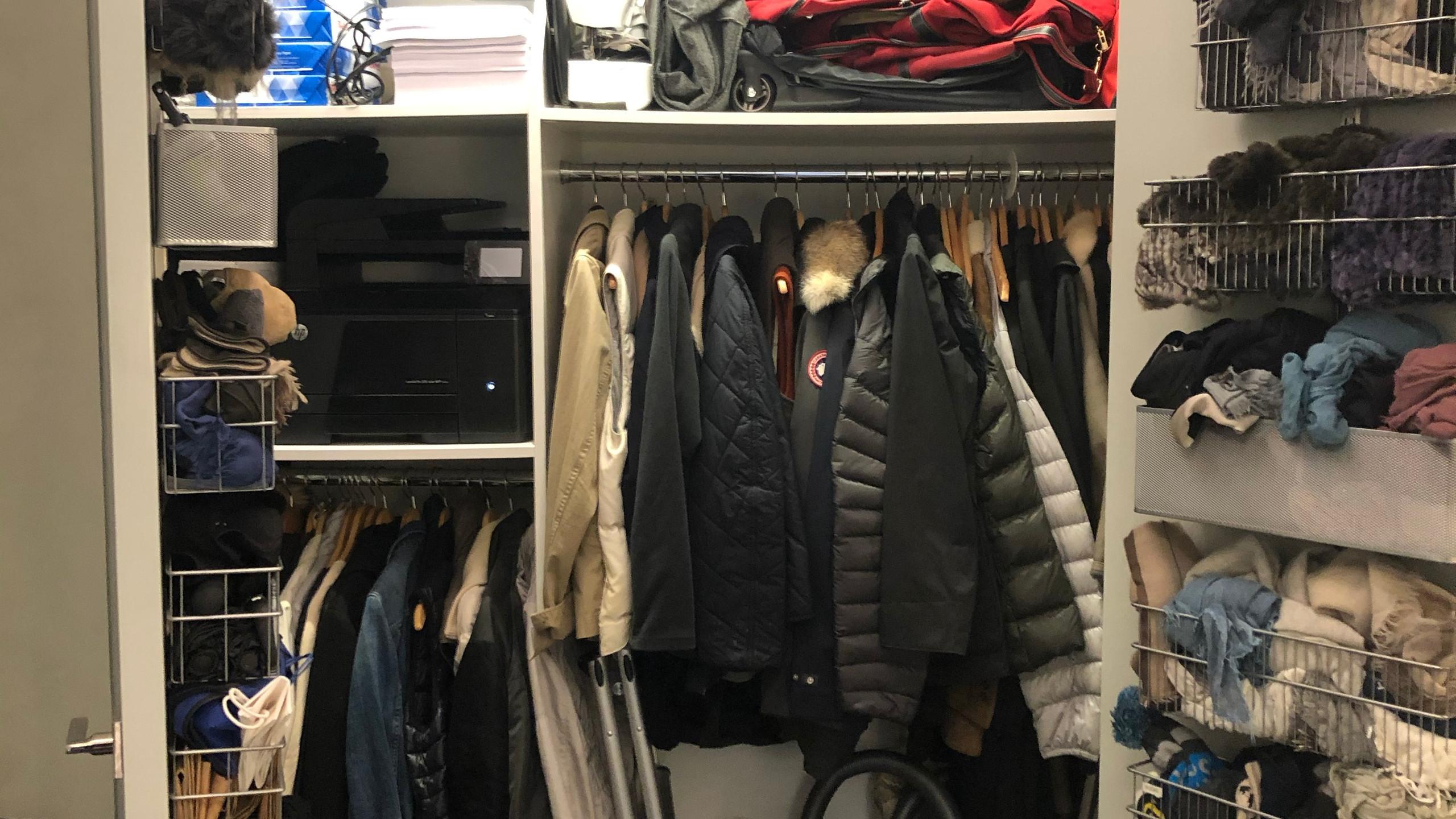 Messy closet before