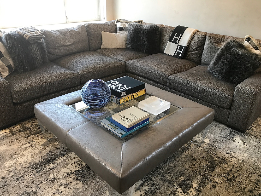 coffee table with decor items