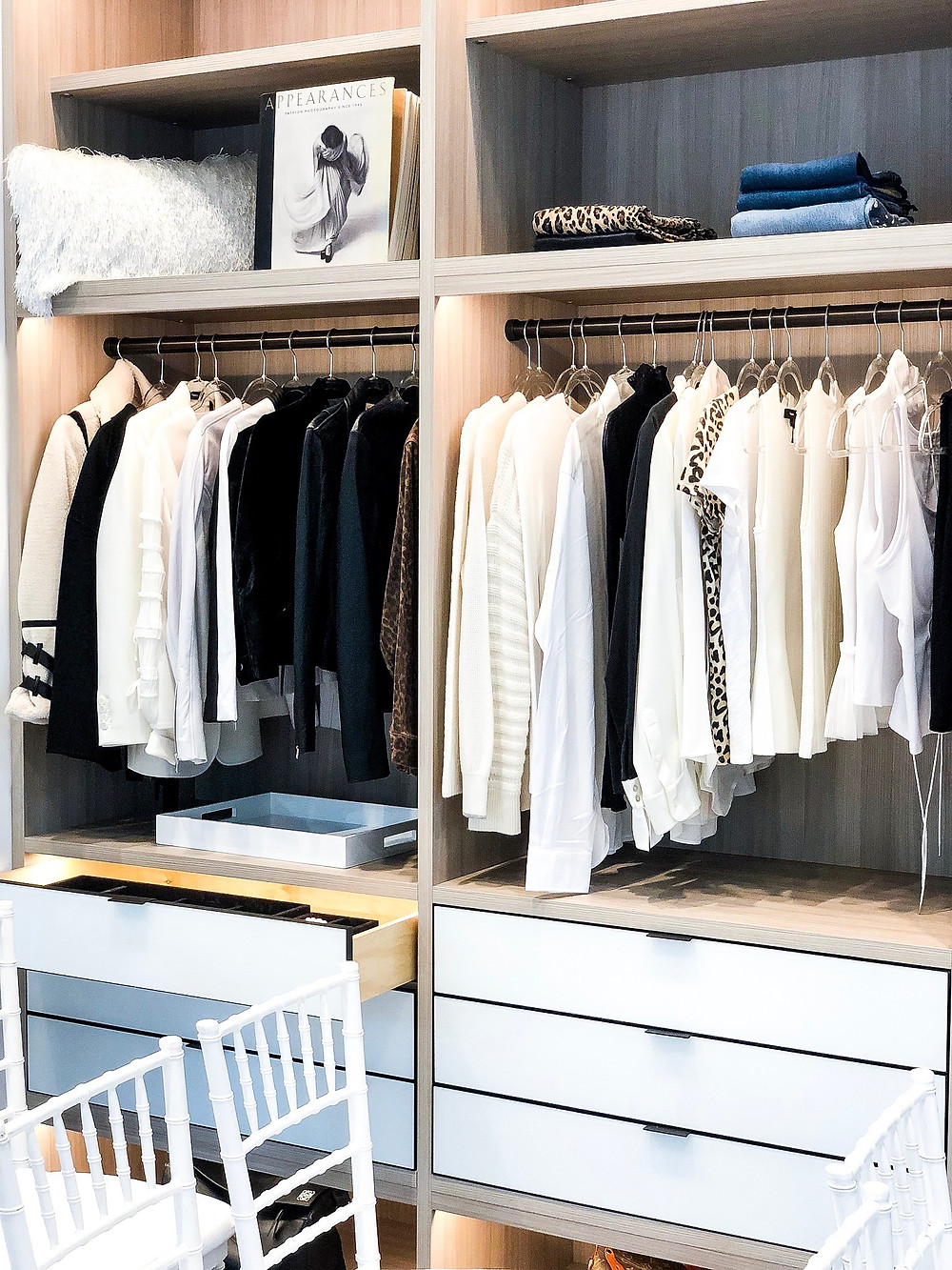 closet organized with drawers and shelves