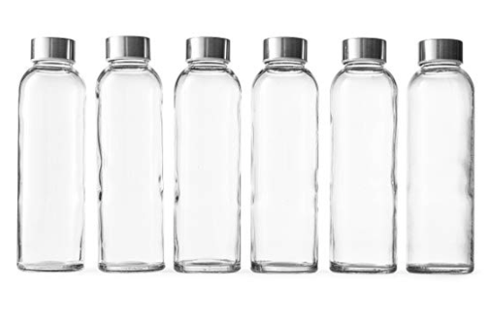 Use glass refillable water bottles to reduce plastic waste