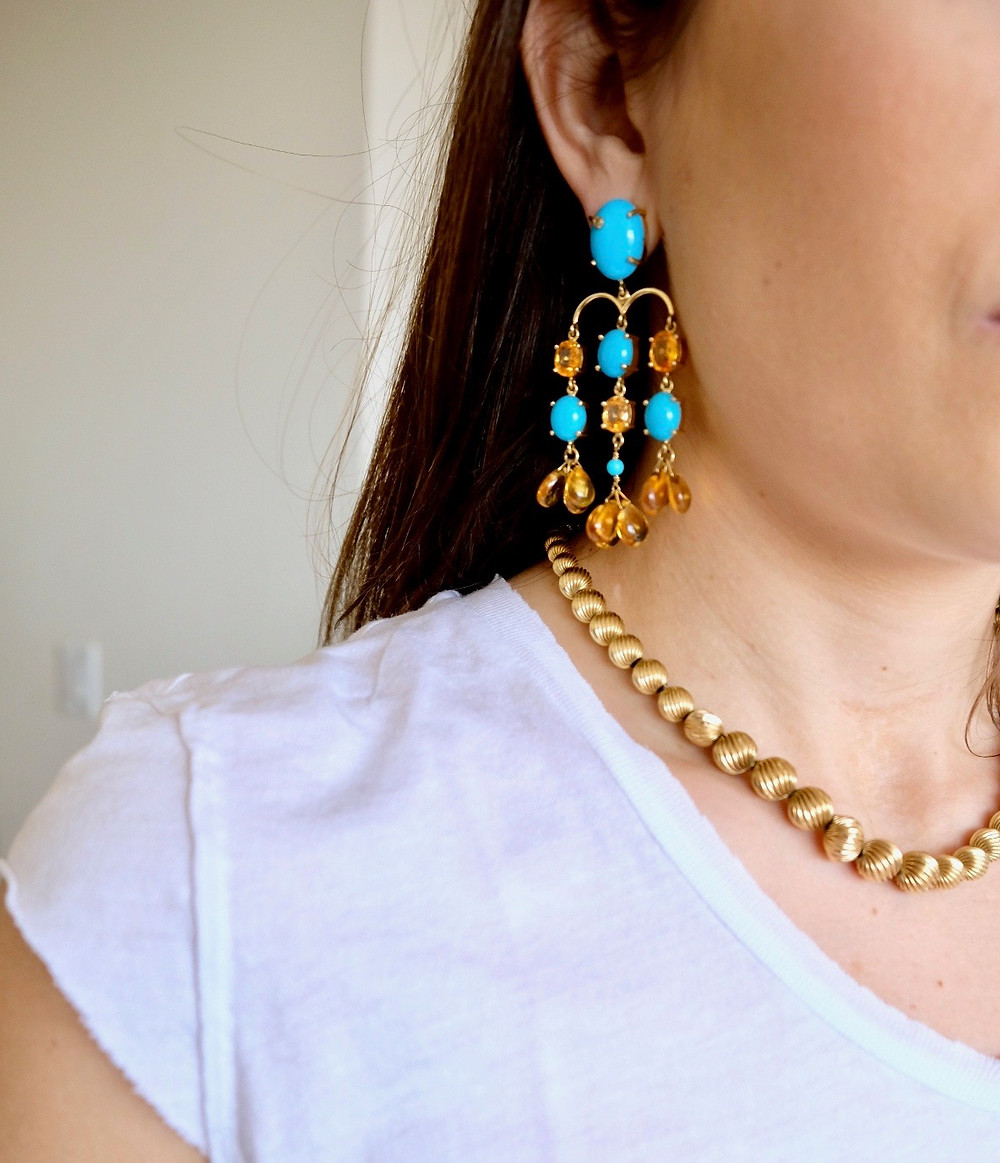 earrings and vintage gold necklace