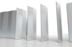 huge aluminum pivoting door array