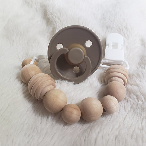 Wood Beaded Pacifier Clip