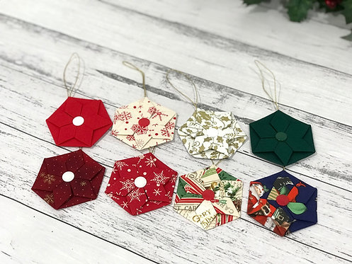 Origami Hexagon Christmas Tree Ornaments