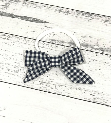 Navy Gingham Bow