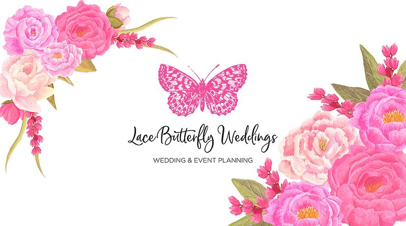 LBW logo, pink butterfly, flowers