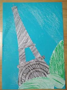 Tatiana Piknová a jej frotáž Eiffelovej veže
