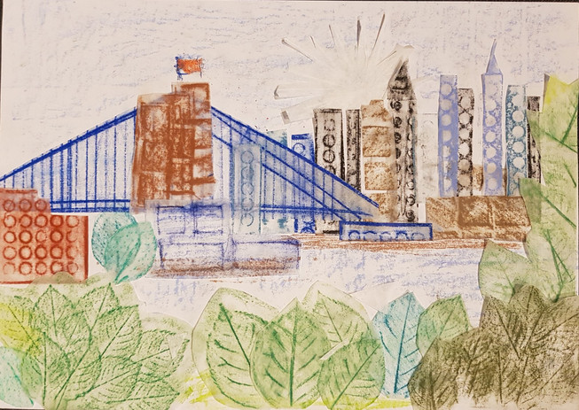 Sára Moravanská a jej frotáž inšpirovaná fotografiou New York City.