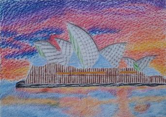 Lea Kobidová a jej frotáž budovy - Sydney Opera House