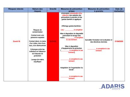 Mise à jour du document unique d'évaluation des risques professionnels (DUERP) COVID-19