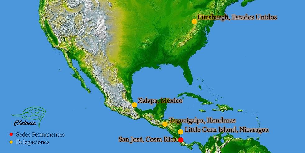 Sedes y delegaciones de Asociación Chelonia en Centro y Norteamérica