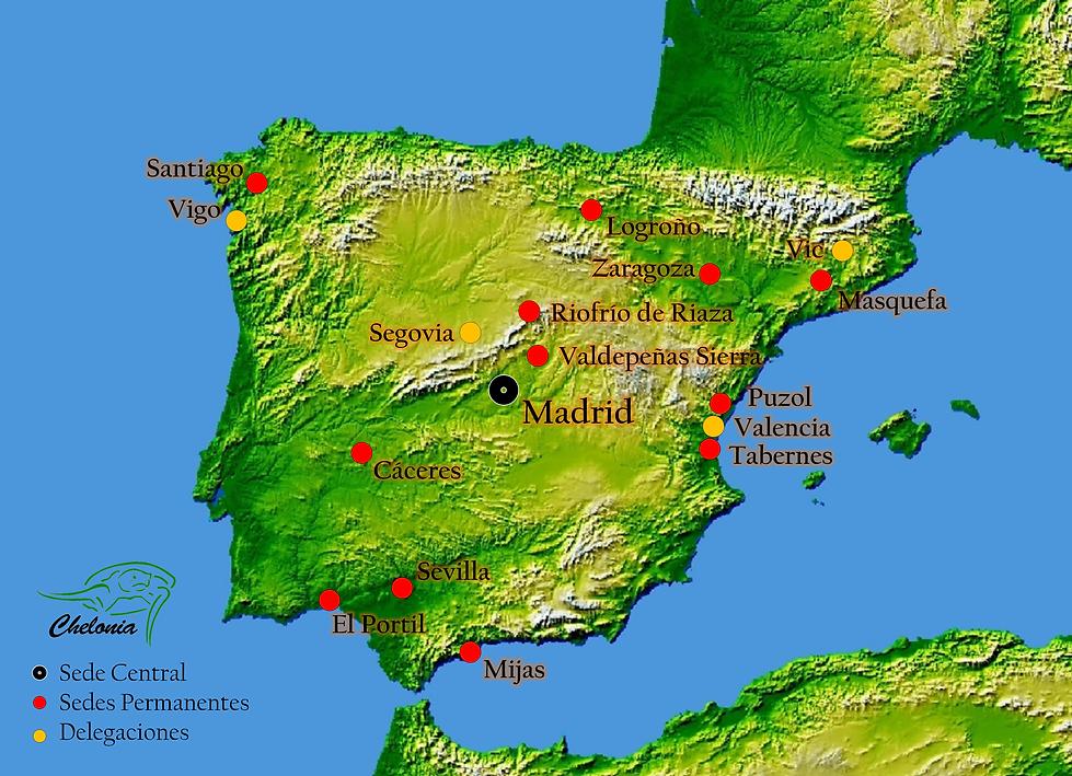 Sedes y delegaciones de Asociación Chelonia es España