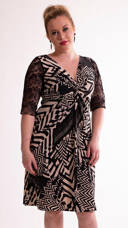 """Twist Dress """"Zebra"""" with Sleeves"""