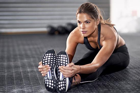 Mujer estirar deportivo