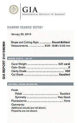 2.01 cts E VS2 Round Brilliant Diamond