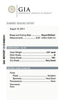 3.01 cts G VS1 Round Brilliant Diamond