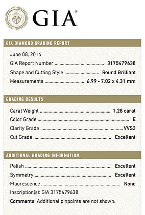 1.28 cts E VVS2 Round Brilliant Diamond
