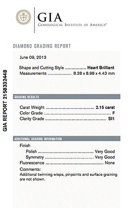 2.15 cts F SI1 Heart Brilliant Diamond