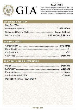0.90 cts F VS1 Round Brilliant Diamond