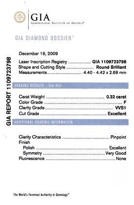 0.32 cts F VVS1 Round Brilliant Diamond