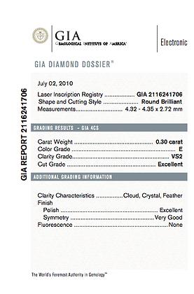 0.3 cts E VS2 Round Brilliant Diamond