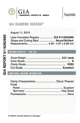 0.31 cts E VVS2 Round Brilliant Diamond