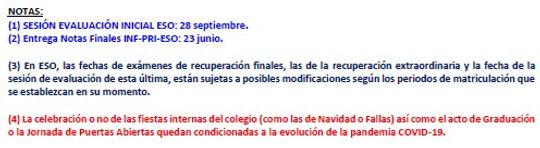 Calendario evaluaciones y reuniones (III