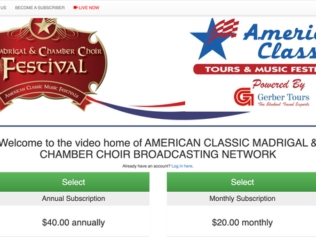SBN chosen by American Classic Tours & Music Festivals for the Madrigal and Chamber Choir Festivals