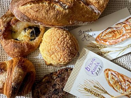 11月『コシュカのバゲットトラディションと湘南小麦の穂で年賀状制作』