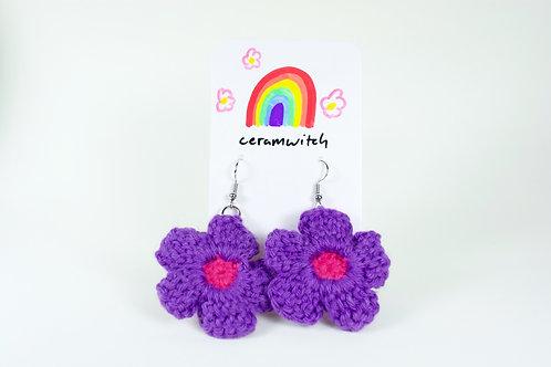 Crochet Flower Earrings: purple-pink