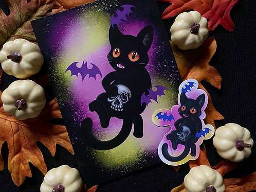 Kawaii Halloween Print and Sticker