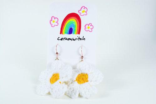 Crochet Flower Earrings: white-yellow