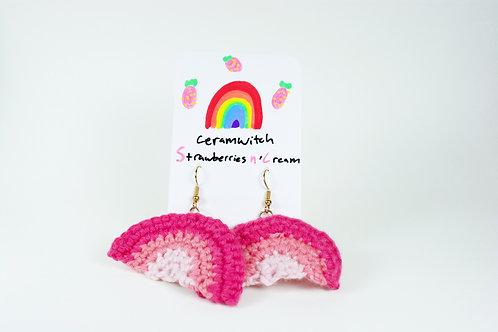 Strawberries n' Cream: Rainbow Crochet Earrings