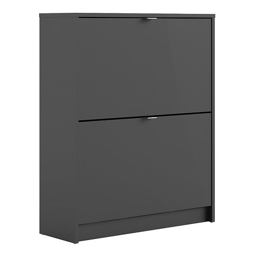 Shoe Cabinet With 2 Tilting Doors And 2 Layers