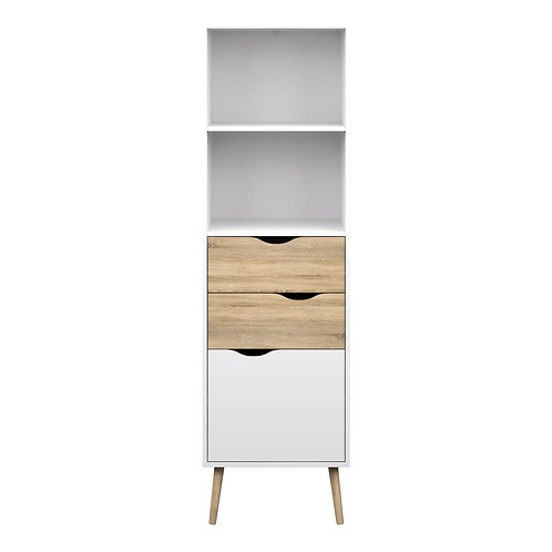 Oslo Bookcase 2 Drawers 1 Door In White And Oak