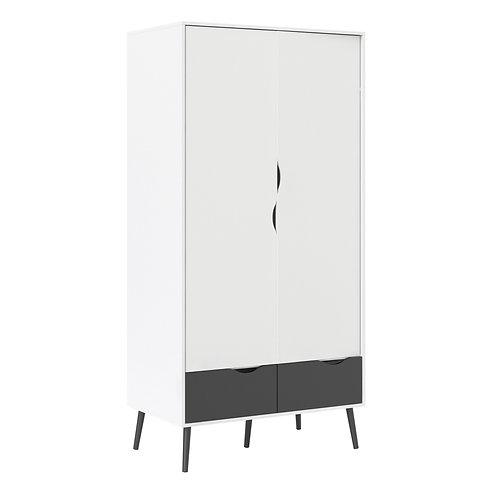 Oslo Wardrobe 2 Doors 2 Drawers In White And Black Matt