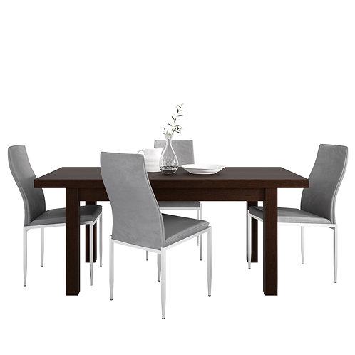 Pello Extending Dining Table In Dark Mahogany + 4 Milan High