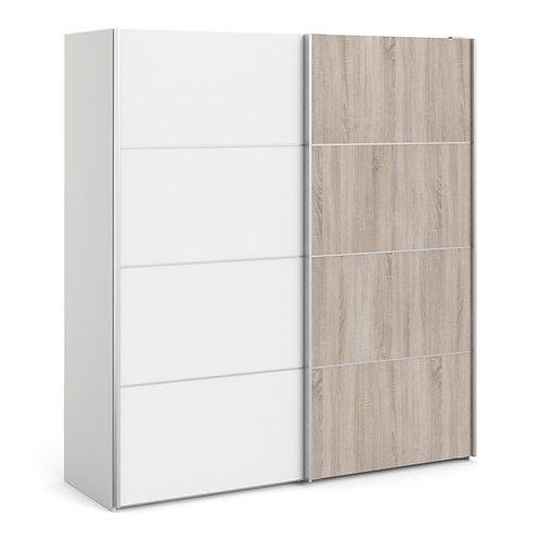 Verona Sliding Wardrobe 180cm in White With Truffle Oak Doors and 2 Shelves