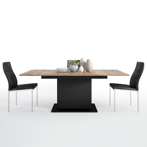 Brolo Extending Dining Table And 6 Milan High Back Chair Black