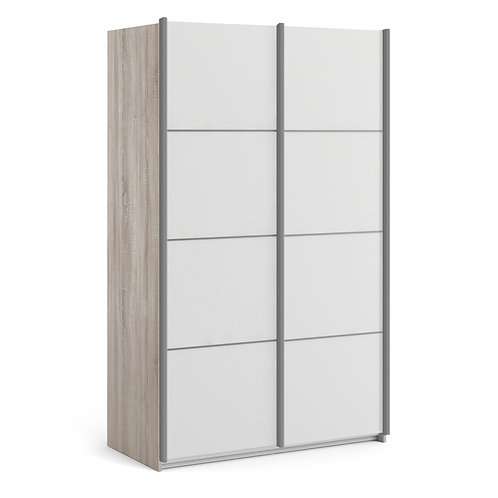 Verona Sliding Wardrobe 120CM In Truffle Oak With White Doors and 5 Shelves