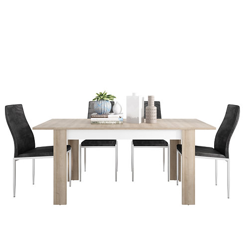 Lyon Medium Extending Dining Table And 6 Milan High Back Chairs Black